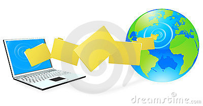 Laptop computer uploading or downloading files