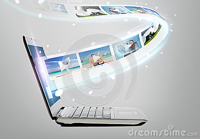 Laptop computer with video on screen