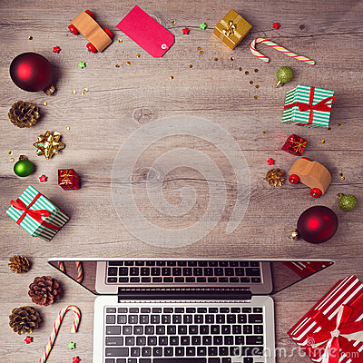 Free Laptop Computer With Christmas Decorations On Wooden Background. Christmas Mock Up Template. View From Above Royalty Free Stock Photo - 61606605