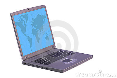 Laptop computer with world on screen
