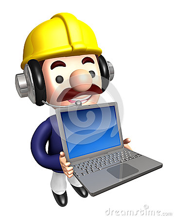 Laptop Construction site man  to promote. Work and Job Character