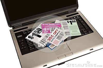 A Laptop With Coupons Represents Online Coupons XX