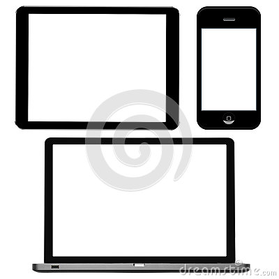 Laptop, digital tablet and phone