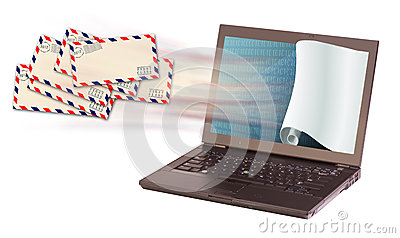 Laptop and envelopes