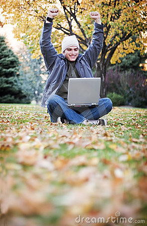 Laptop in the fall