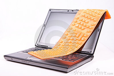 Laptop and flexible orange keyboard