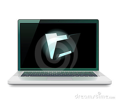 Laptop with folder icon