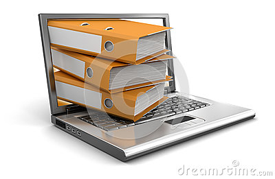 Laptop and Folders (clipping path included)