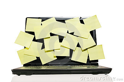 Laptop full of post it