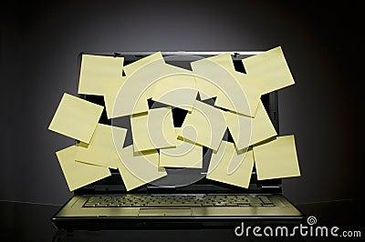 Laptop full of post it