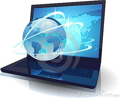 Laptop with Globe and map of the World and orbits