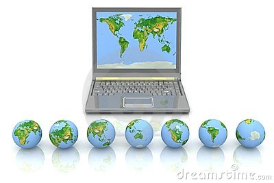 Laptop and globes