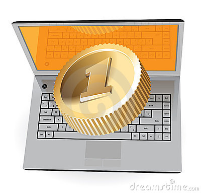 Laptop and golden coin