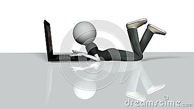 Laptop guy 3d human character