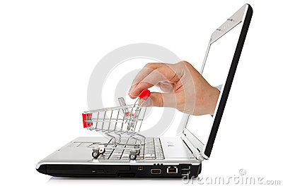 Laptop and hand with shopping cart