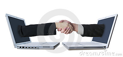 Laptop Handshake 2 Royalty Free Stock Photo - Image: 717635
