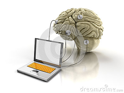 Laptop and Human brain (clipping path included)