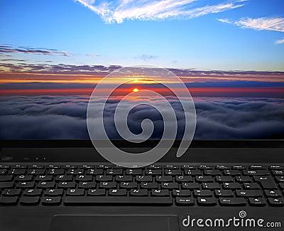 Laptop keyboard and display