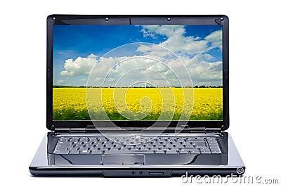 Laptop with landscape