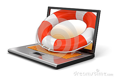 Laptop and Lifebuoy (clipping path included)