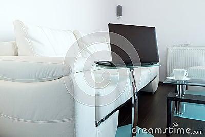 Laptop in living room