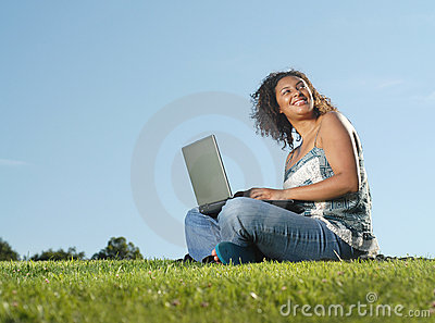 Laptop in the meadow
