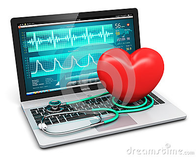 Laptop with medical diagnostic software, stethoscope Cartoon Illustration