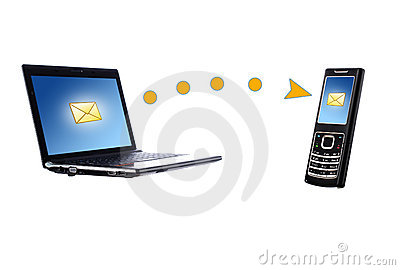 Laptop and mobile phone. Communication concept.