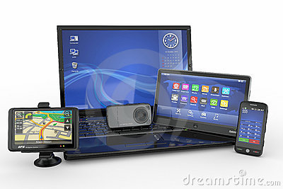 Laptop, mobile phone, tablet pc and gps