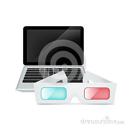 Laptop and movie glasses isolated on white