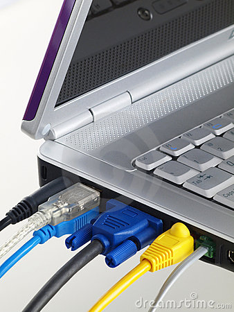Laptop with muliti color plugged in ports