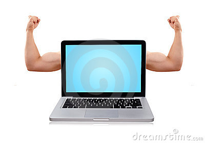 Laptop with nice muscular biceps