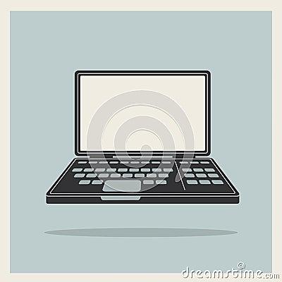 Laptop notebook computer vintage icon vector