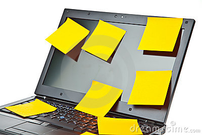 Laptop notebook isolated with postits on it