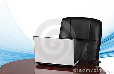 Laptop and office chair