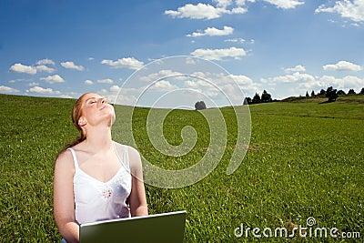 Laptop openluchtrecreatie