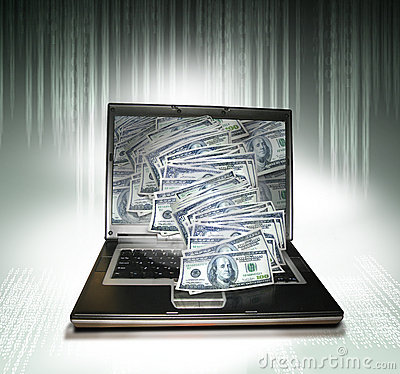 Laptop PC met geld