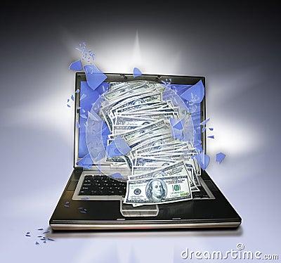 Laptop PC with money