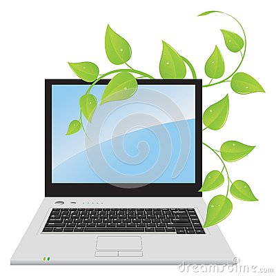 A laptop with a plant