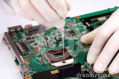 Laptop processor installing