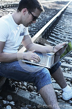 With laptop on rails