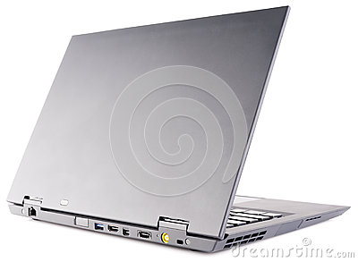 Laptop rear view over white