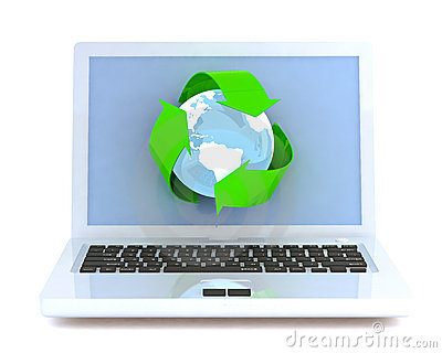 Laptop with recycling symbol.