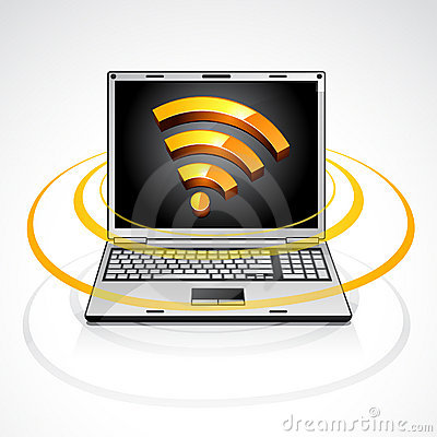 Laptop with rss feed symbol
