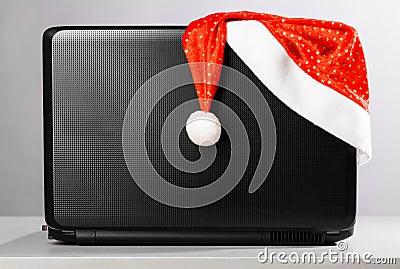 Laptop with santa hat