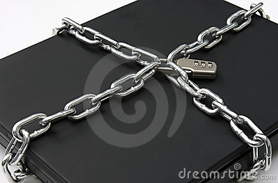 Laptop Secured with Lock and Chain