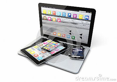 Laptop, smart phones and tablet pc