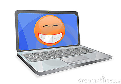 Laptop with smile on screen