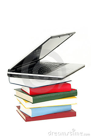 Laptop on Stack of Books