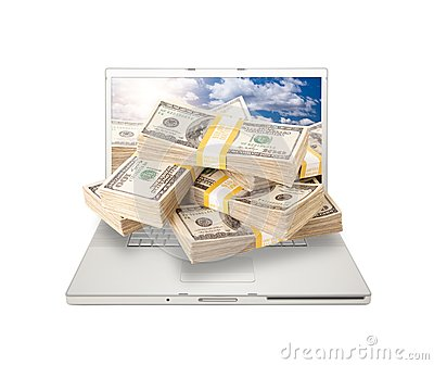 Laptop with Stacks of Money Coming From Screen